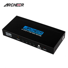 Archeer 4Kx2K 4 Port 4x1 HDMI Switch Switcher With IR Remote and AC Power Adapter Supports 1080P 3D for HD TV
