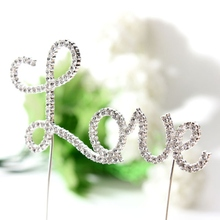 Brand New Romantic Crystal Silvery Love Letter Cake Topper Wedding Engagement Valentine Decoration Hot Sale