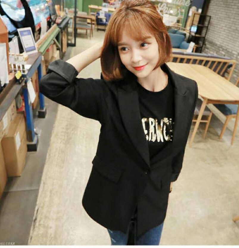 Autumn and winter new Korean casual black small suit female wild temperament Slim simple professional suit jacket