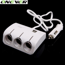 Car Cigarette Lighter Plug Power Adapter Output 120W 5V Dual USB Port 3 Way Car Cigarette Lighter Socket Splitter Charger 12V