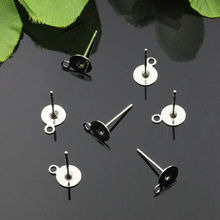 50pcs 8mm Wholesale Rhodium Silver Plated Stainless Steel Round Flat Pad Ear Studs with a hoop Jewelry Parts for Earrings