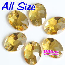 All Sizes Glass Oval Citrine Sew On Rhinestones Sew-on Crystal Sewing Beads For Wedding Dress B2772