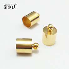 STENYA Tassel Caps Beads Crimps End Cap Leather Cords Necklace Connector W/Loop Jewelry Making Textured Round Finding Clasp(China)