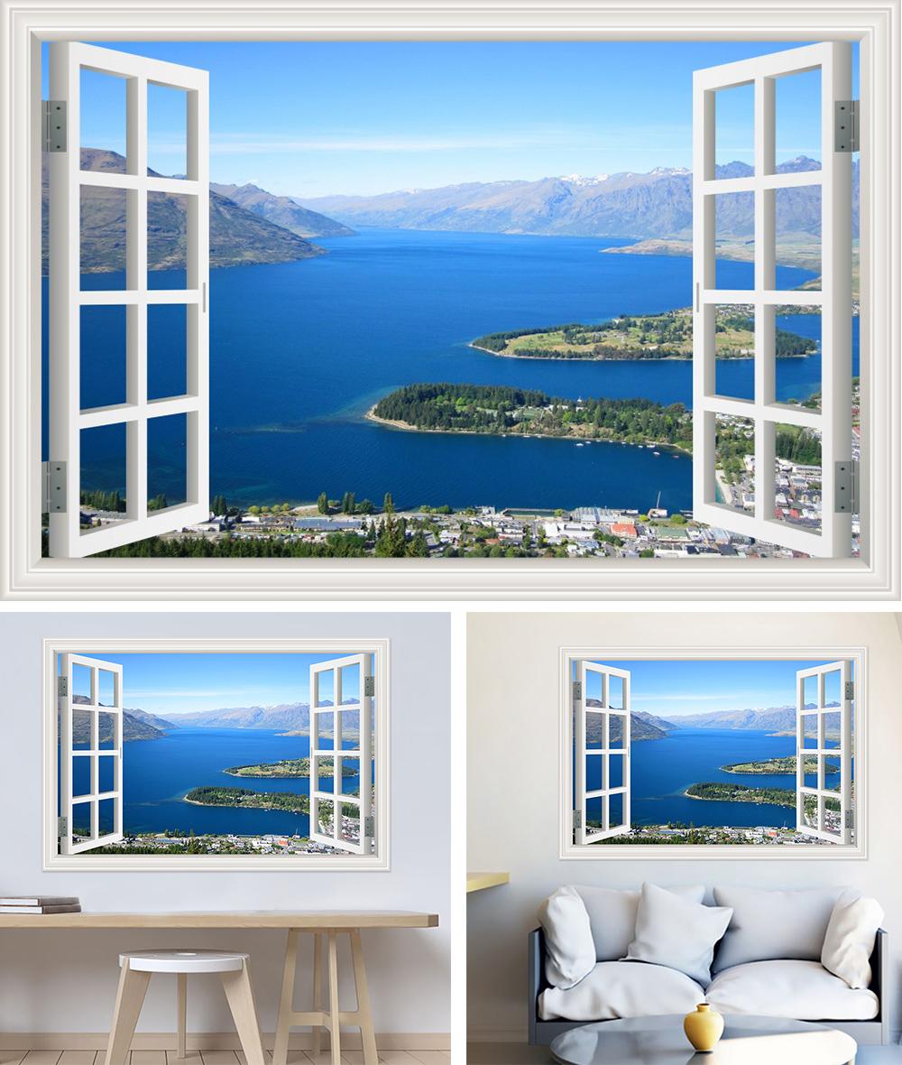 HTB1MLfVh22H8KJjy1zkq6xr7pXaN - Modern 3D Large Decal Landscape Wall Sticker Snow Mountain Lake Nature Window Frame View For Living Room