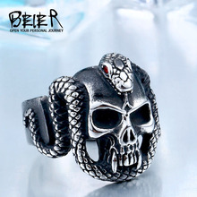 BEIER 2017 retro style stainless steel Vintage snake ring with red stone devil skull biker exquisite jewelry BR8-440(China)