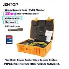 Waterproof Pipe Drain Sewer Video Inspection Snake Camera Meter Counter Keyboard DVR Recording Color Monitor 23mm Camera Head(China)