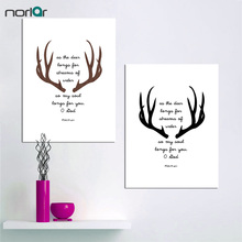 Deer Antlers Bible Art Print Art Nordic Canvas Posters Modern Christian Art Quote Canvas Painting Wall Art Home Decor(China)