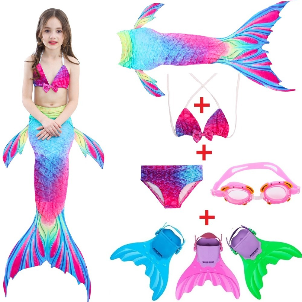 Kids Girl Fairy Mermaid Tail Flippers Swimmable Tail Swimming Costumes Swimsuit