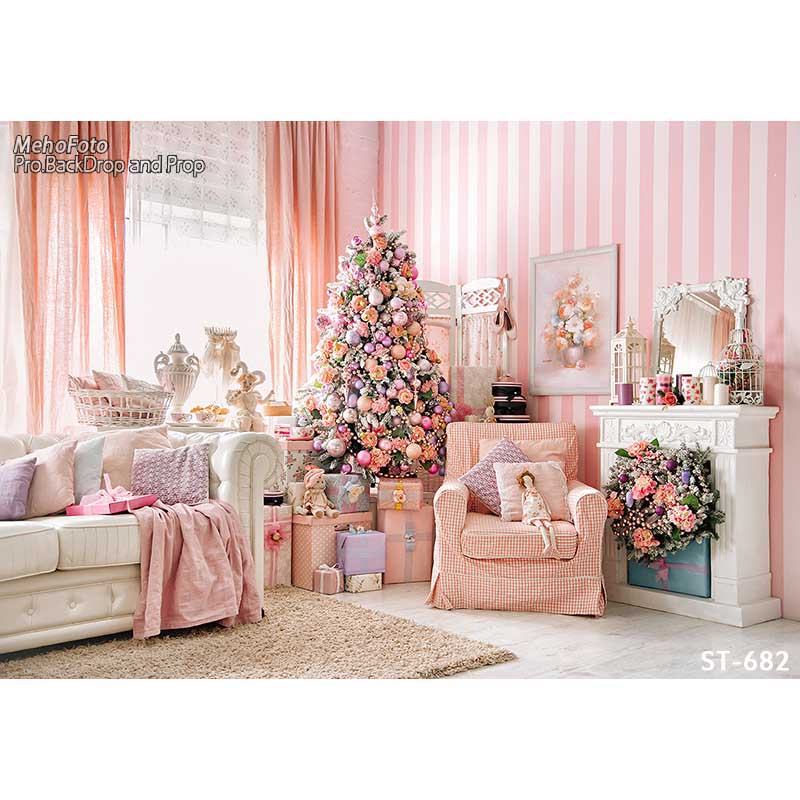 Horizontal vinyl print 3D Xmas decoration pink girls room photography backdrops for photo studio portrait backgrounds ST-682<br>