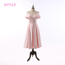 Pink Prom Dress 2017 A-line V-neck Cap Sleeves Tea Length Backless Women Prom Gown Evening Dresses Robe De Soiree(China)