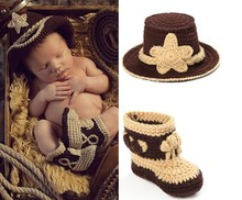 Crochet Baby Cowboy Hat and Boots Set in Brown Newborn Boy Photo Props Handmade Knitted Baby Hat and Bootie