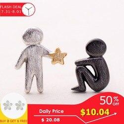 Thaya комплектации с золотыми звездами для вас дизайн серьги-гвоздики s925 Серебряные асимметричные серьги с человеческой фигурой для Для женщ...