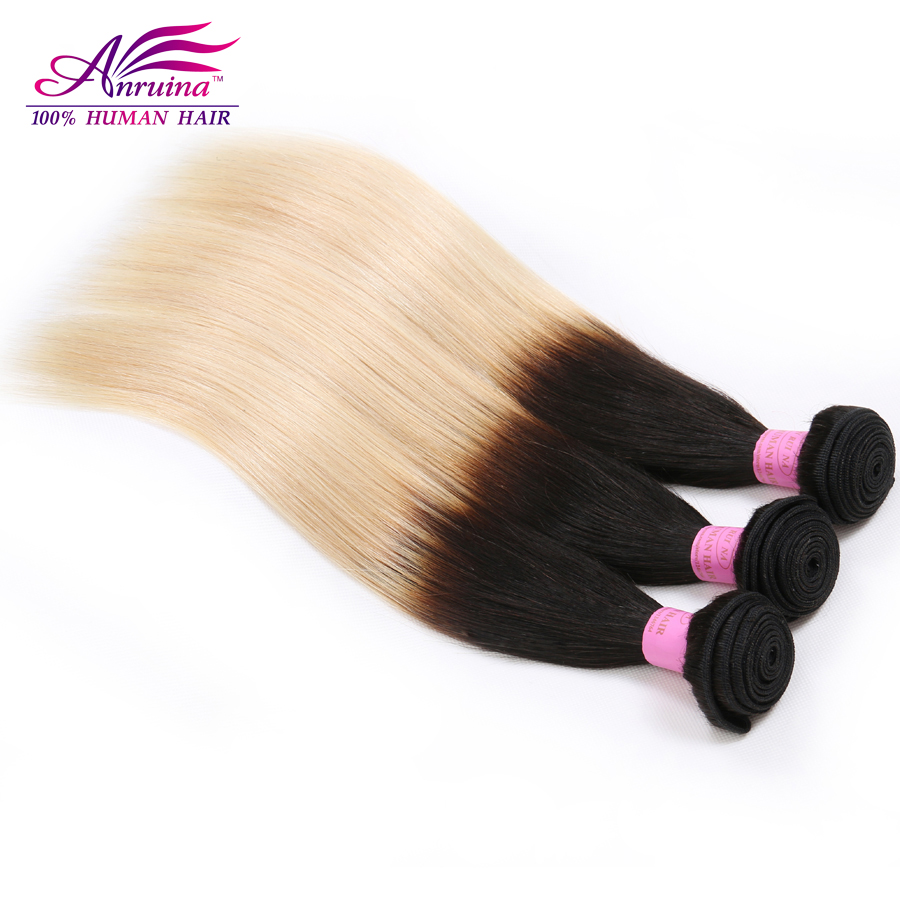 Grade 7A Indian Straight Human Hair Blond 1B/613 Ombre Indian Virgin Hair Straight 3Bundles Two Tone Human Hair Weave<br><br>Aliexpress
