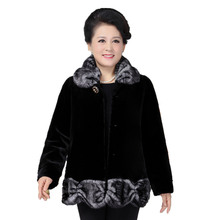 Winter Fur Coat Women 2017 Fashion Ladies Faux Mink Overcoat Middle Age Women Plus Size Winter Jackets Fur Outerwear thick(China)