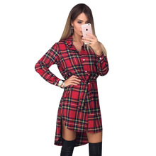 NEW Women Dress Sexy Long Sleeve Office Dress Irregular Plaid Shirt Dresses Women Clothes LJ5932E(China)