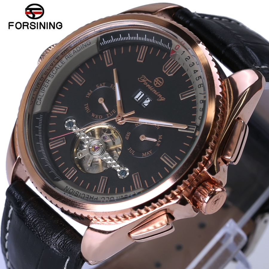 Tourbillon Automatic Skeleton Mechanical Watch Men Steampunk Retro Leather Analog Wrist Watches Horloges Mannen 2017 New<br>