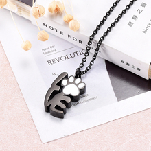 Love Pet paw Shape Memorial Jewelry for Ashes Holder keepsake Stainless steel Cremation urn Necklace(China)