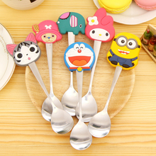 Baby Feeding Spoon Kawaii Cutlery Cartoon Silicon Minions Kids Stainless Steel Tableware 9 styles