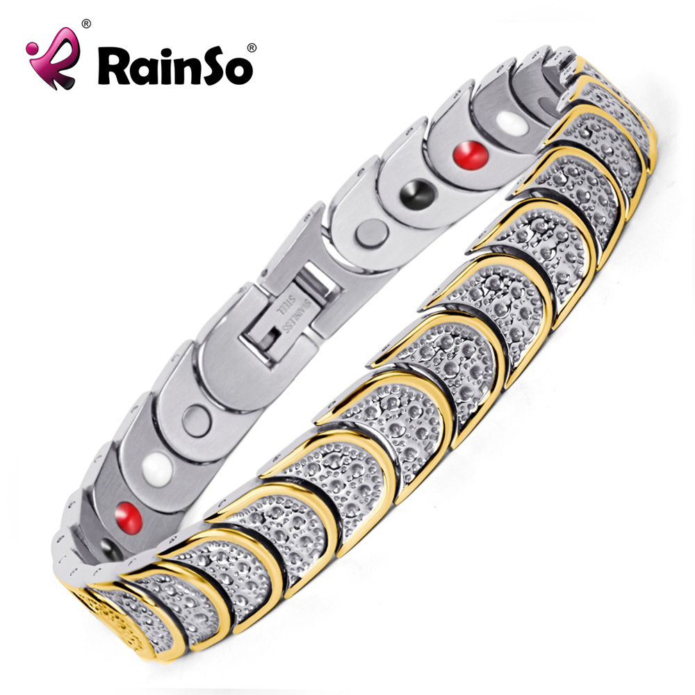 Rainso Fashion Jewelry Magnetic Health Care Elements Magnetic FIR Germanium 316L Stainless Steel Bracelets Men OSB-768