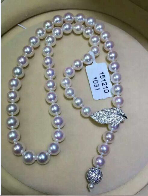 free shipping classic 10-11mm round white pearl necklace 24""