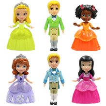 Princess Sofia The First Figure Play Set of 6 Prince James Amber Hildegard Ruby Jade Action Figures Toy Plastic Dolls for Girls