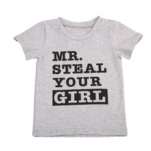 Pudcoco Newborn Baby Boys Graphic Tees Letter Mr Steal Your girl Kids Boys T-shirt Gray