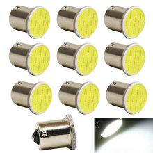 10PCS Super Bright COB P21W Led 1156 BA15S DC12V Bulbs Car-Styling External Lights Auto Car Parking Brake Fog Light Lamps White