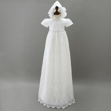2Pcs High-end Baby Girls Christening Gowns Newborn Baptism Long Trailing Dress For Princess Infant 1 Year Birthday Party Wear(China)