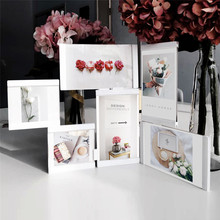 Multi-frame Picture Frames White Photo Frames Home Decor Transparent Multifunctional Collage Photo Frames Set With Suction Cube(China)