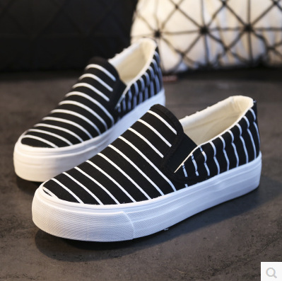 2017 new spring autumn low platform canvas shoes women pedal shoes striped slip on casual shoes size 35-39 black white blue<br><br>Aliexpress