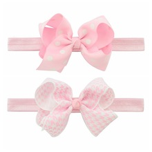 Headband Baby Girl Hair Bows Newborn Elastic Hair Band Kids Cute Children Hair Accessories Ribbon Head Band with Dot 2pcs/set(China)
