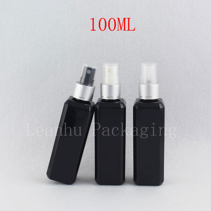 100ml black square bottle with silver spray (1)