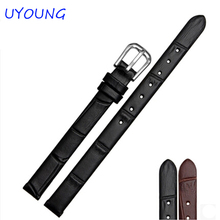 6mm 8mm 10mm Black New Ladies Design Durable Genuine Leather Deployment Bracelet Strap Watch Band(China)
