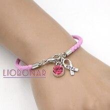 Wholesale Breast Cancer Awareness Bracelet Jewelry Pink Leather Hope Ribbon  Charm Bracelets for Cancer Center Foundation 19320cea2d37