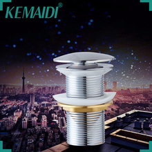 KEMAIDI  Polish Chrome Bathroom Sink Drain Pop Up Waste Vanity Without Overflow