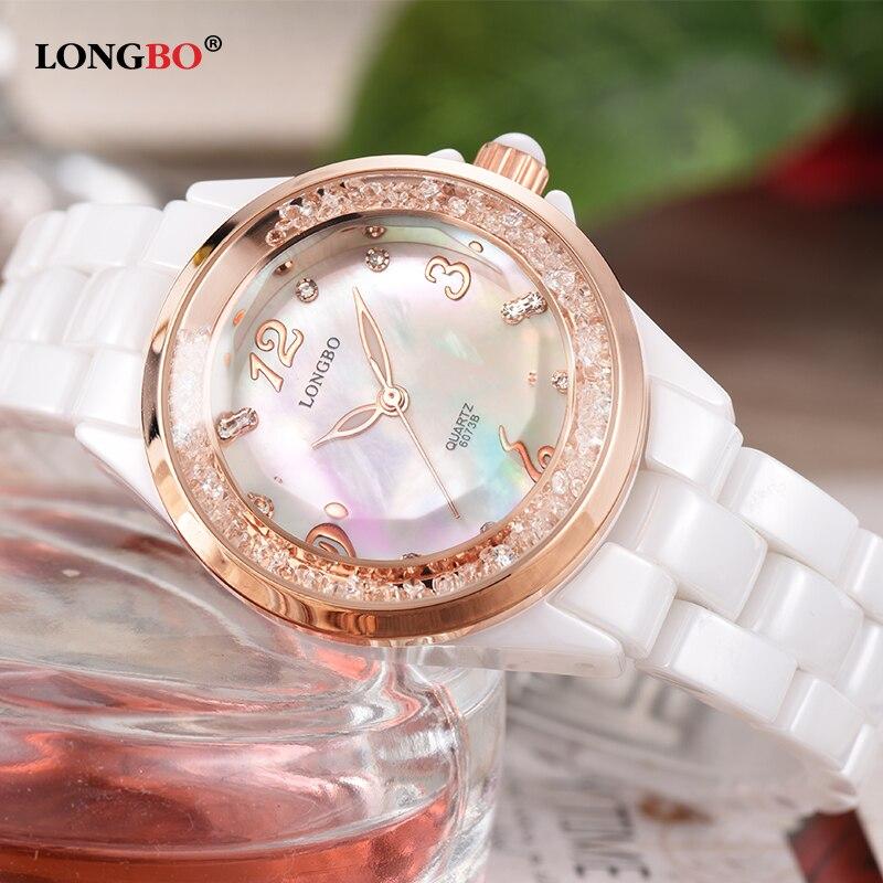 LONGBO Luxury Top Brand Ceramic Watch Women Leisure Diamonds Crystal Shining Shell Dial Waterproof Quartz Watch reloj mujer 6073<br>