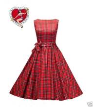 Free Shipping Vintage Dancing Party Swing NEW BLACK RED TARTAN PENCIL WIGGLE DRESS VINTAGE 50's 60 ROCKABILLY PARTY PIN UP
