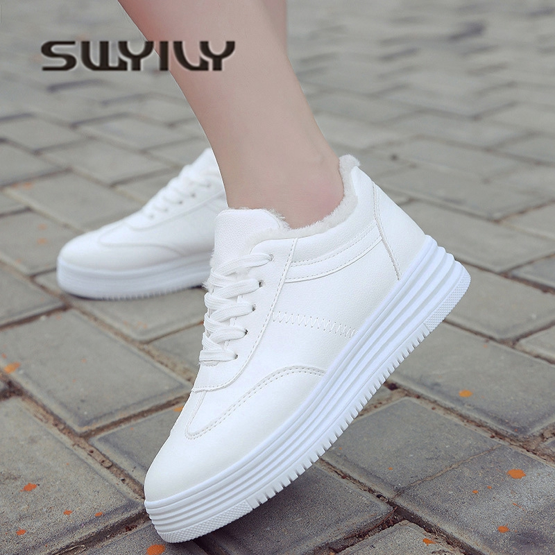 SWYIVY White Shoes Sneakers Winter Fur Snow Boots 2018 Autumn Winter Female Casual Winter Shoes Velvet Warm PU Leather Sneakers