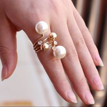 Fashion ring gold jewelry two big imitation pearl ring rings for women free shipping M1942