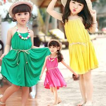 clearance new 2016 kid's summer dress Children Clothing Baby Girls Clothes Girls' candy color Dress Kids vest Dress 3T~10(China)