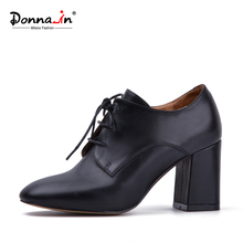 Donna-in Women shoes Genuine Leather Lace up Style High Heels Shoes for Women Square Toe Natural Calf Leather Shoes(China)