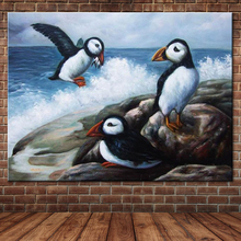 Ocean Waves Oil Painting Sea Birds Catching Fish Canvas Art Wall Decoration Hand Painted Animal Wall Picture Decals (No Frame)
