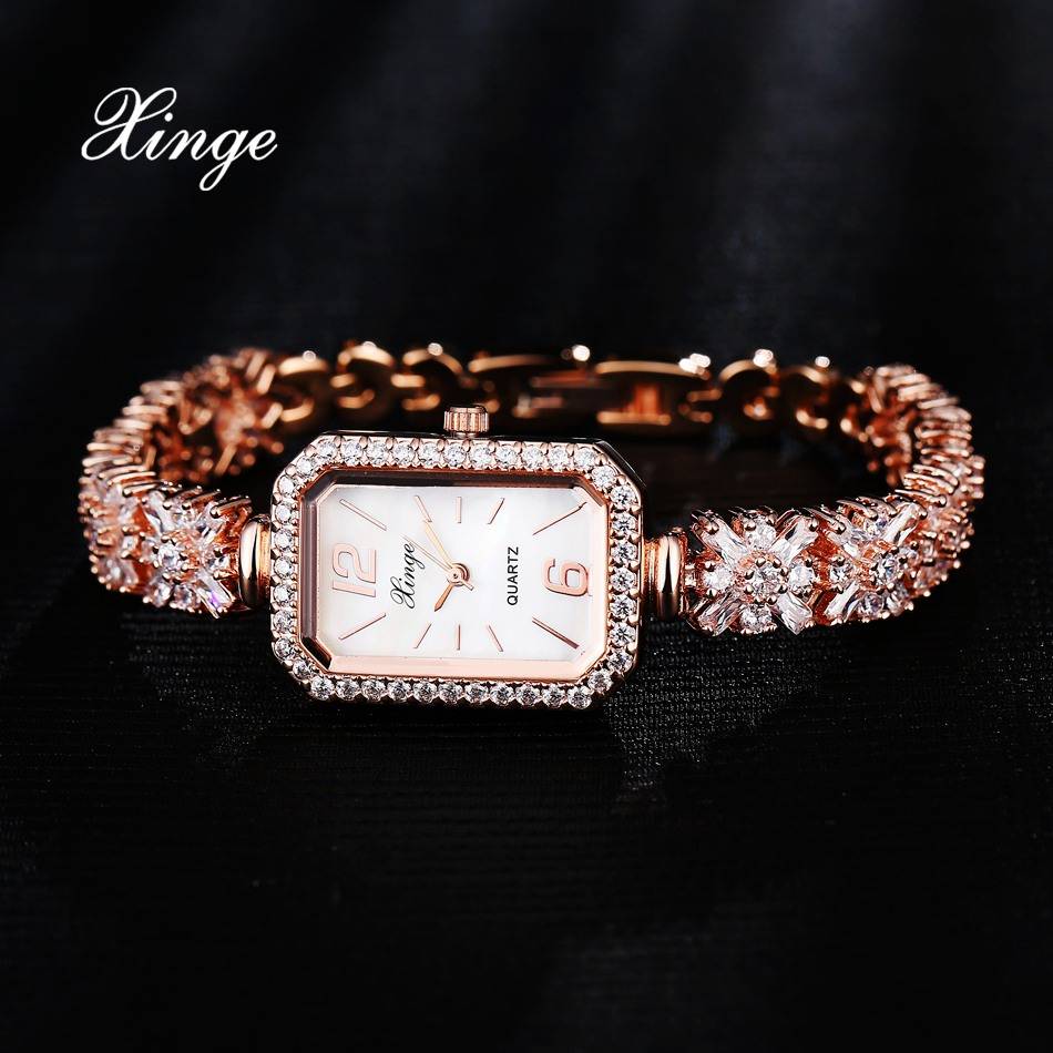Xinge Brand Luxury Zircon Watches Women Bracelet Waterproof Rose Gold Wristwatches Watches For Women Luxury Female Quartz Watch<br>