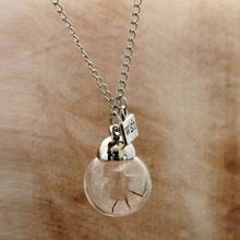 Dandelion Wish Necklace Best Gift Wishing Bottle Pendant Real Dandelion Seeds collar collier colar Simple Jewelry Wholesale(China)