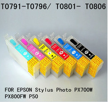 6 color 79 T0791 - T0796/ T0801-T0806 Refillable ink cartridge for EPSON stylus Photo PX700W PX800FW P50 printer Auto reset chip