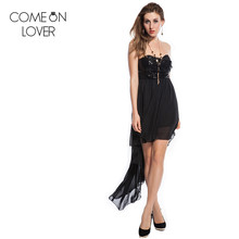 RE7658 Comeonlover ladies beach style long dress sleeveless strapless backless dress special deign women sequined black dress(China)