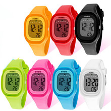 2017 Milky hot sale1PC Silicone LED Light Digital Sport Wrist Watch Kid Women Girl Men Boy watch 17Jul 29(China)