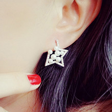 ES672 Unicorn Brincos News 2017 Girls Earing Bijoux Gap Pentagram Stud Earrings For Women Star Wedding Jewelry Earings Wholesale