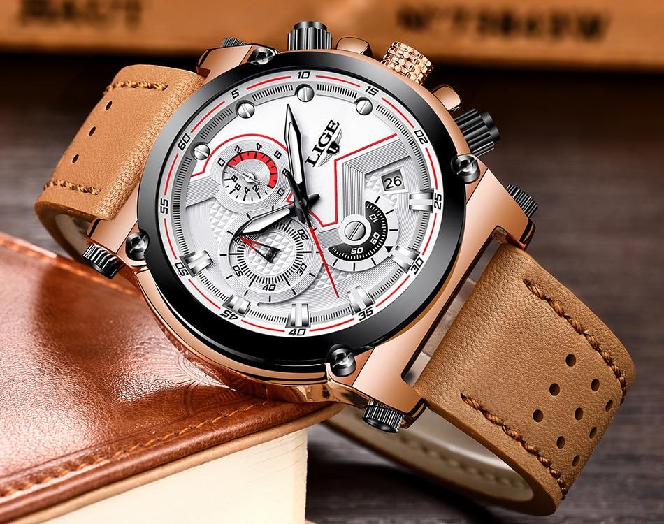 Reloje 18 LIGE Men Watch Male Leather Automatic date Quartz Watches Mens Luxury Brand Waterproof Sport Clock Relogio Masculino 21