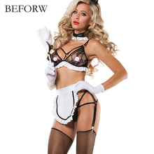 Buy BEFORW Sexy Lingerie Black White Hot Lace U Miniskirt Cosplay Maid Outfit Sexy Maid Costumes Babydoll Erotic Lingerie Set